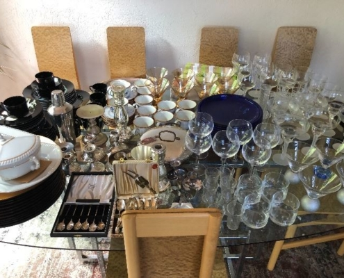 Estate Sales Antique Plates and Glasses