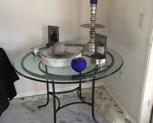 Estate Sales Table and Candle
