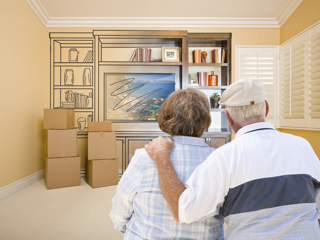Senior Couple In Room - Moving Concept